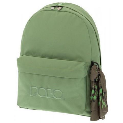 POLO με Μαντήλι Σχολική Τσάντα Πράσινο του Βρύο Original Κλασική