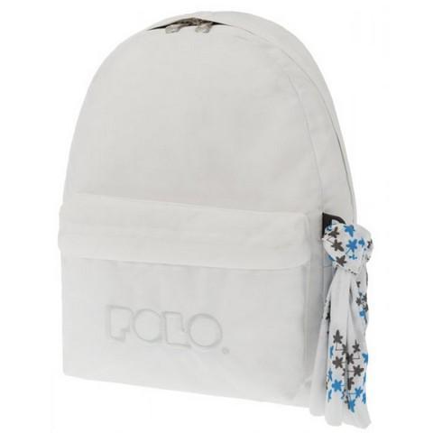 POLO με Μαντήλι Σχολική Τσάντα Λευκό Original Κλασική