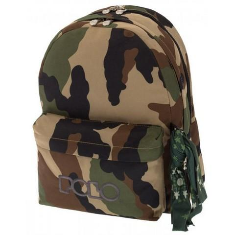 POLO Σχολική Τσάντα Πλάτης Double Scarf Military