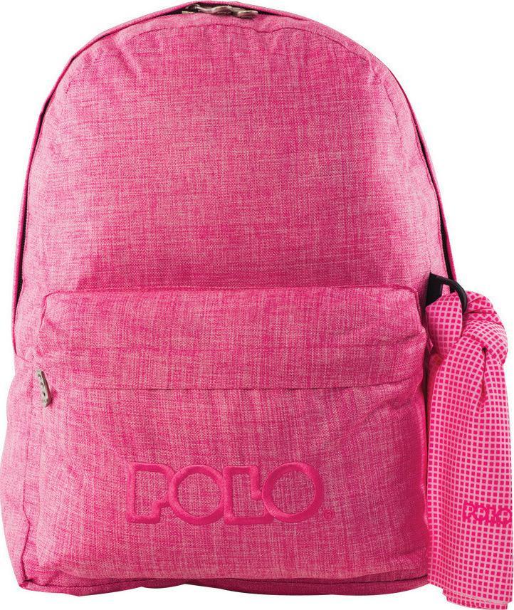 f372b8dc9bf Polo Bags 2019: POLO Σχολική Τσάντα Σακίδιο Πλάτης Double Scarf Ροζ ...