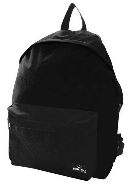 Montana τσάντα πλάτης εφηβική μαύρη με μπροστινή θήκη 40x29x16.5εκ.