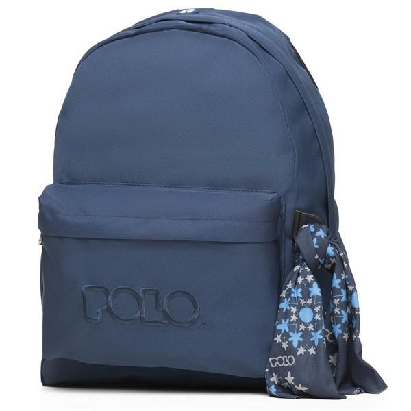 POLO με Μαντήλι Σχολική Τσάντα Μπλε Original Κλασική (901-135-05) 2020