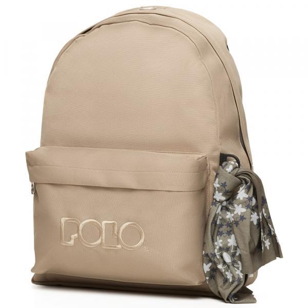 POLO με Μαντήλι Σχολική Τσάντα Μπεζ της Άμμου Original Κλασική (901-135-37) 2020