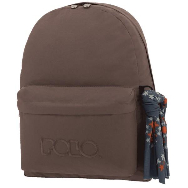 POLO με Μαντήλι Σχολική Τσάντα Καφέ Original Κλασική (901-135-09) 2020