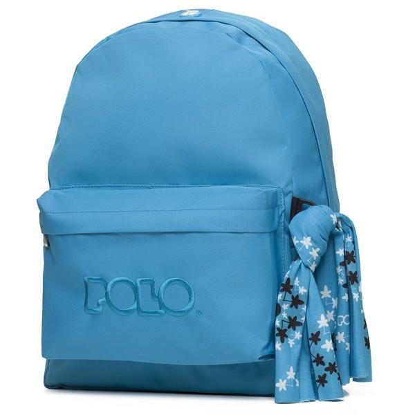 POLO με Μαντήλι Σχολική Τσάντα Μπέιμπι Μπλε Original Κλασική (901-135-20) 2020
