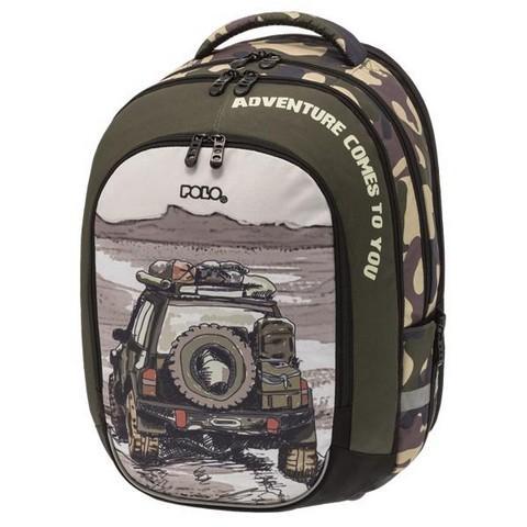 POLO Σχολική Τσάντα Vision Glow Στρατιωτικό Τζιπ (9-01-255-07)