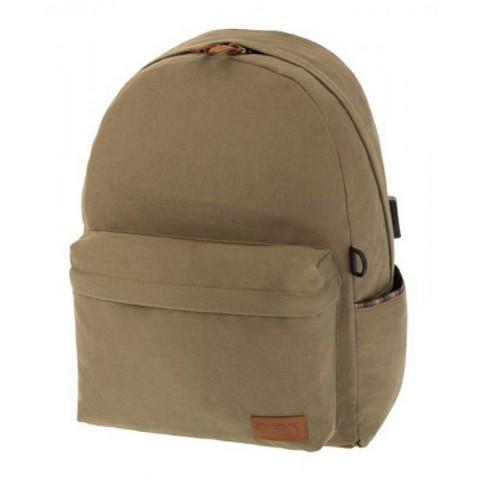 POLO Σχολική Τσάντα Πλάτης Canvas Style Μπέζ (901-245-31)