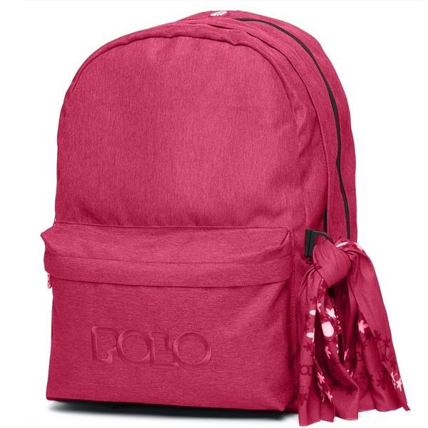 POLO Σχολική Τσάντα Πλάτης Double Scarf Σκούρο Φούξια (901-235-29) 2020