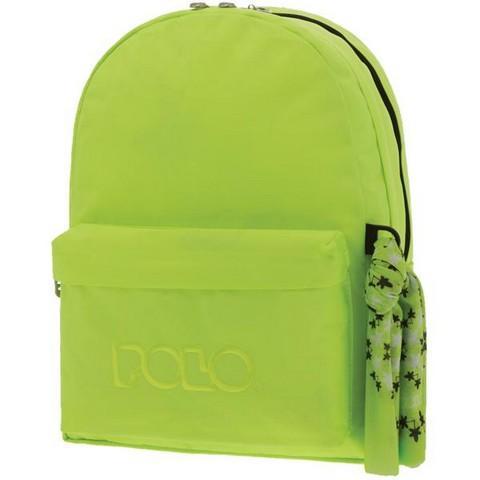 POLO Σχολική Τσάντα Πλάτης Double Scarf Φωσφοριζέ Πράσινο (901-235-27) 2020