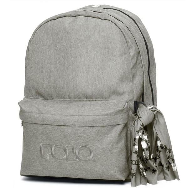 POLO Σχολική Τσάντα Πλάτης Double Scarf Γκρι (901-235-08) 2020