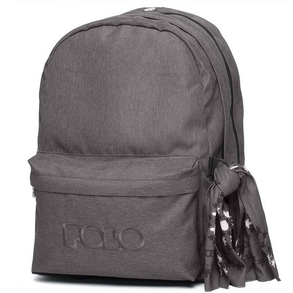 POLO Σχολική Τσάντα Πλάτης Double Scarf Ανθρακί (901-235-09) 2020