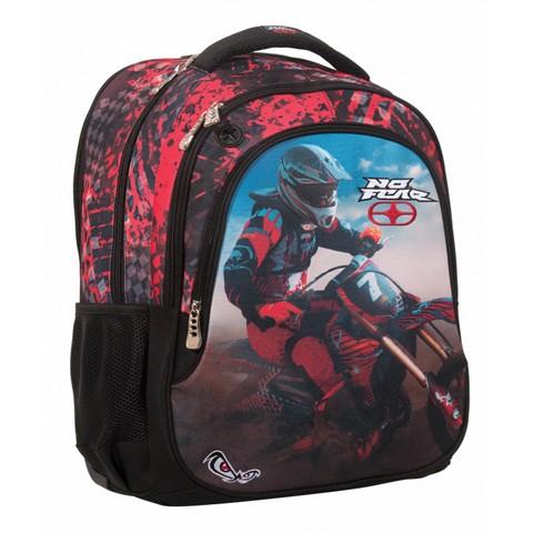 Σχολικό Σακίδιο με 3 Θήκες για Αγόρια No Fear Red Motocross (347-58031)